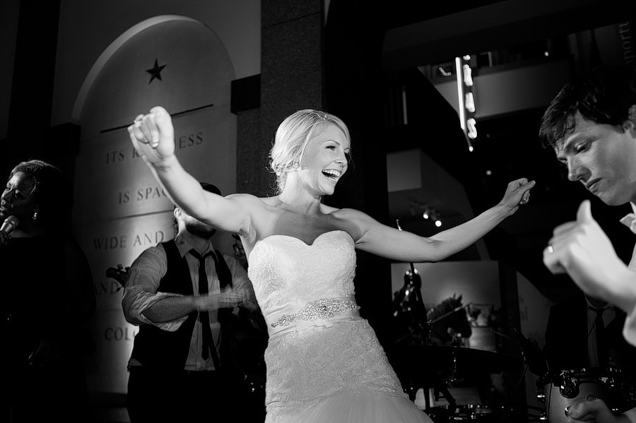 bride dancing on stage with The Matchmaker Band