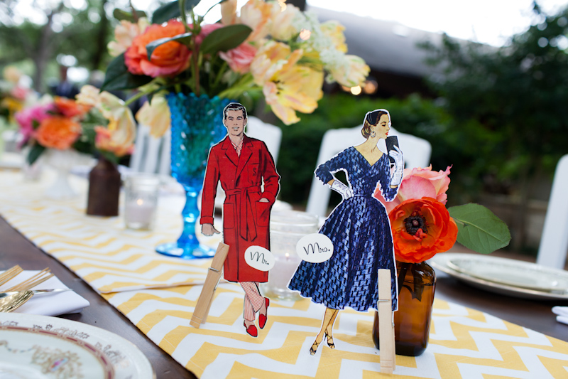 quirky 60's mad men bride and groom table setting cut outs