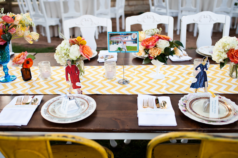yellow chevron head table quirky mad men vintage retro