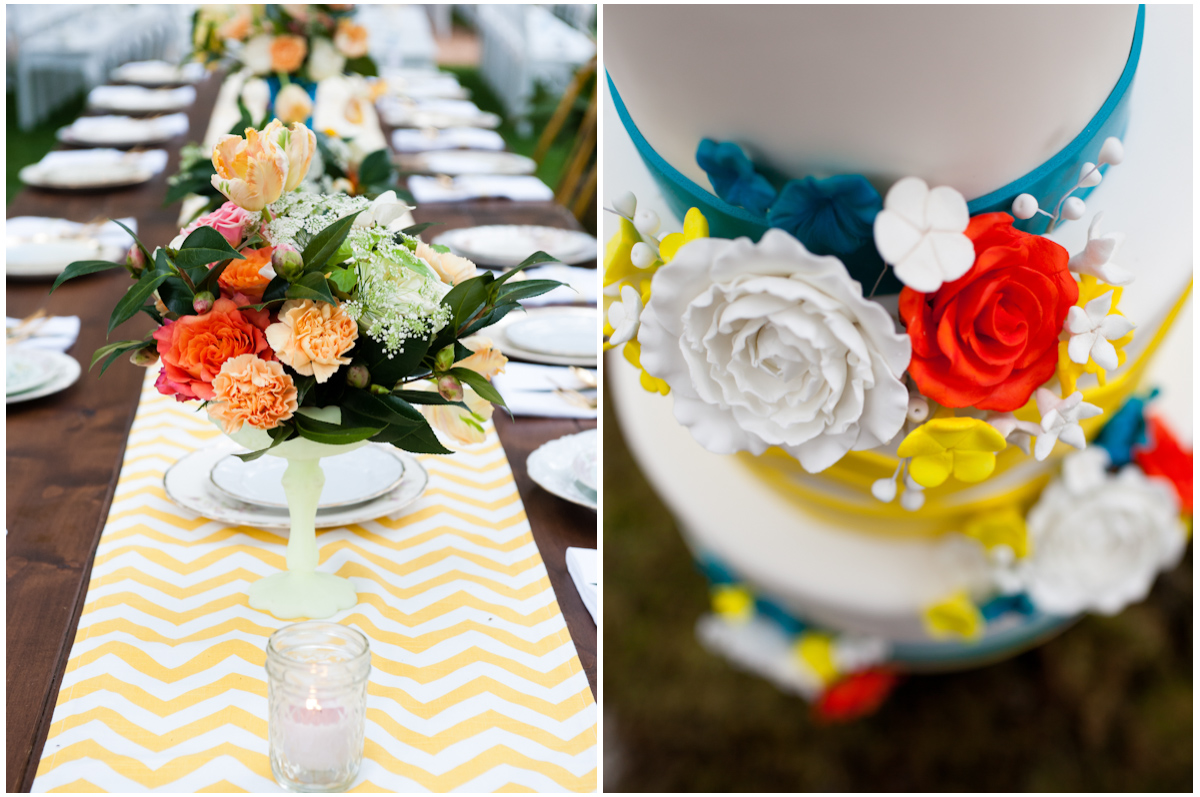 vibrant color wedding yellow chevron table runner