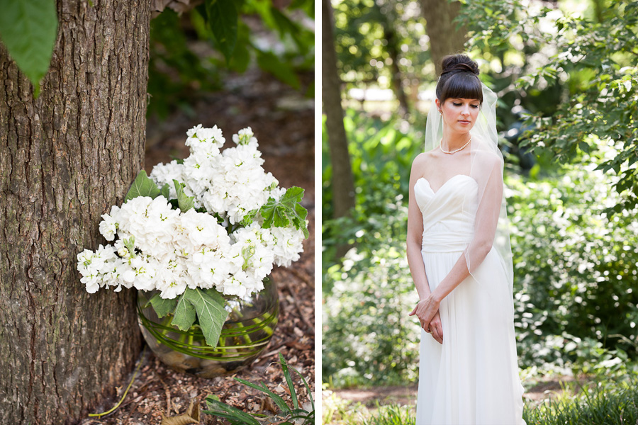 white hydrangea high fashion bride