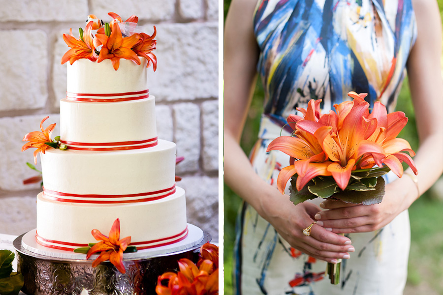 polka dot cupcake wedding cake orange lily