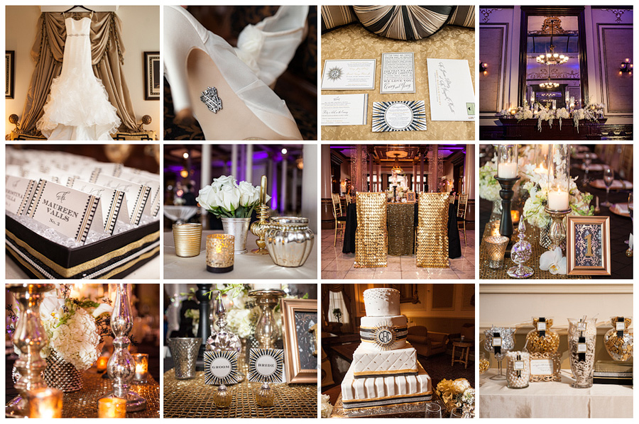 black and gold, art deco, great gatsby wedding, black succulants