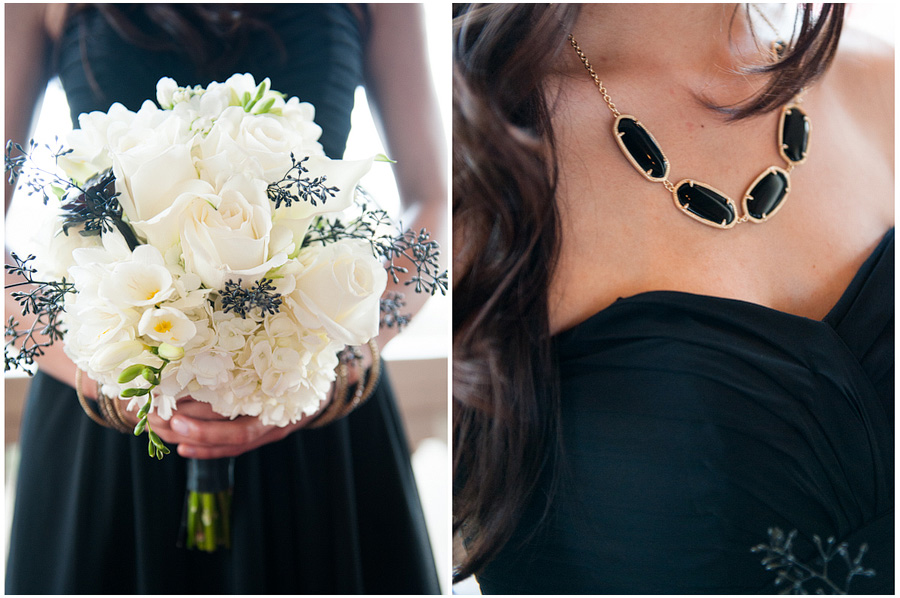 black and white bridesmiads, kendra scott black and gold necklace