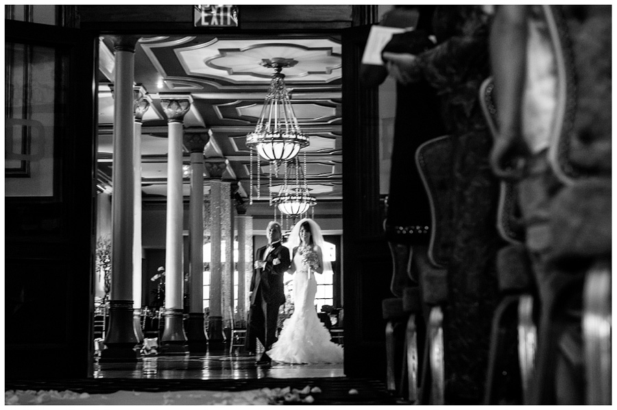 bride and father entrace to wedding ceremony in the driskill ballroom