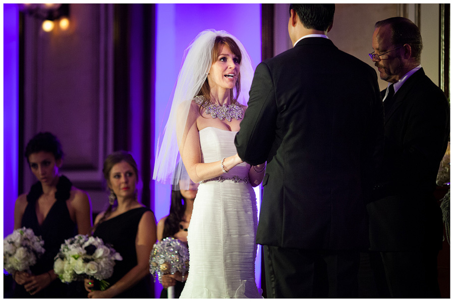 bride saying her vows ballroom ceremony