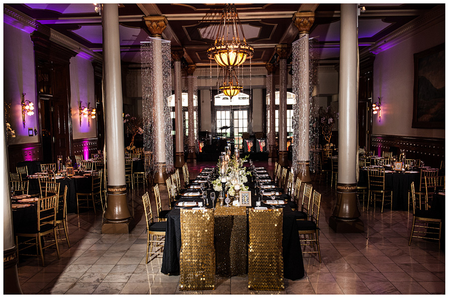 Old hollywood glamour wedding at the driskill jenny demarco photography austin wedding - Black and gold wedding reception decorations ...