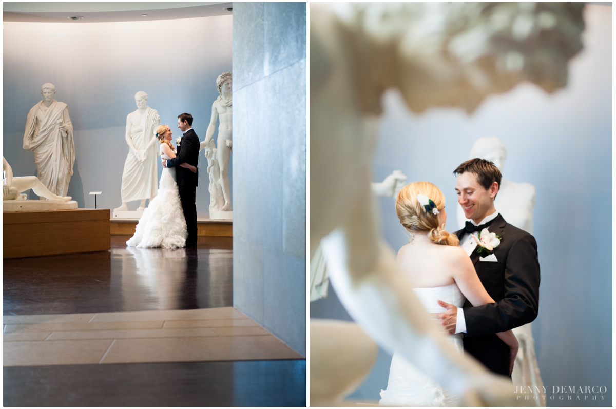 art museum wedding portraits in the sculputure gallery