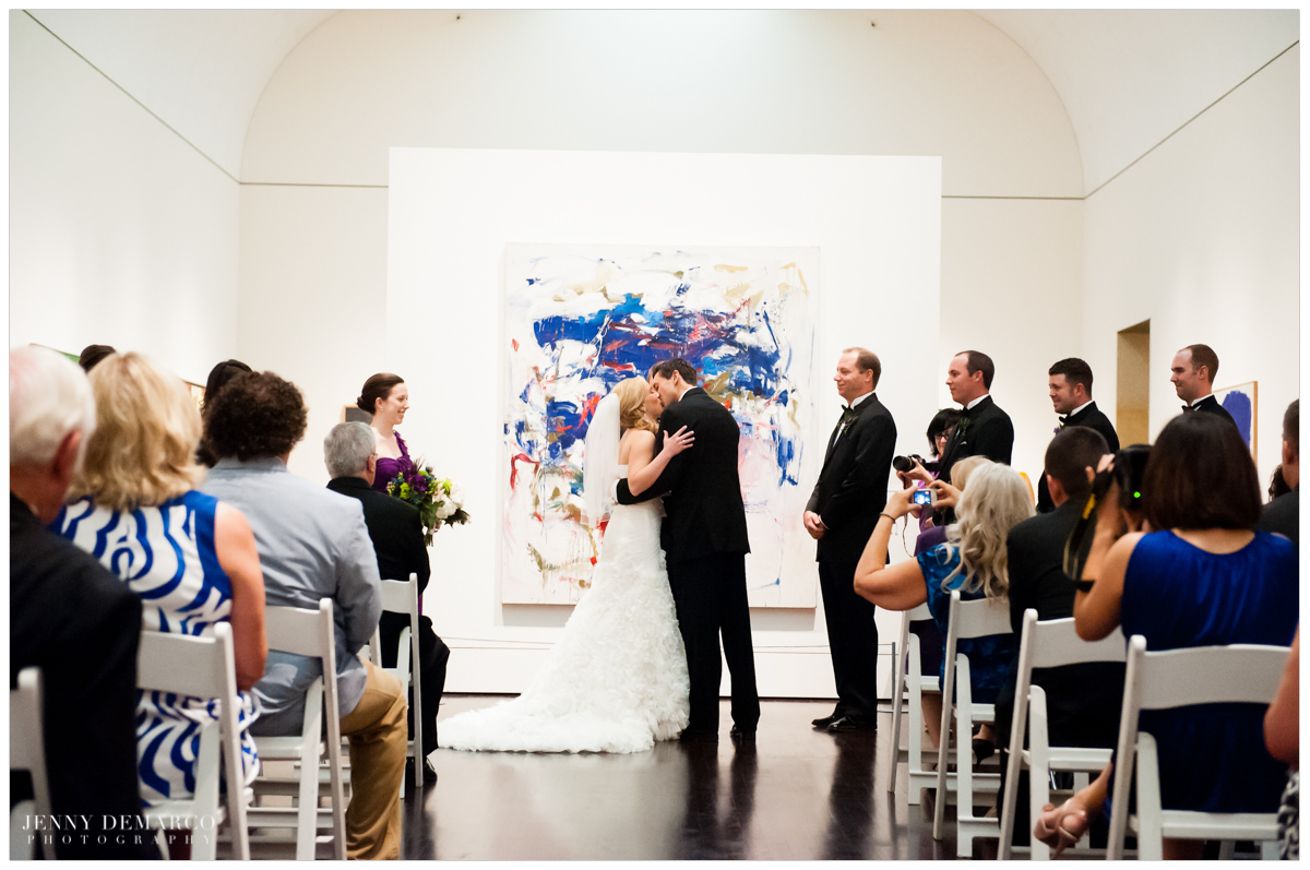 Kiss During The Wedding Ceremony At Blanton Museum Of Art