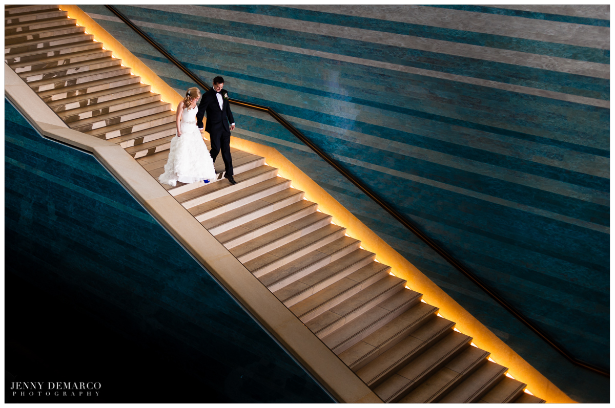Bride and Groom grand entrance in front of Teresita Fernández Stacked waters