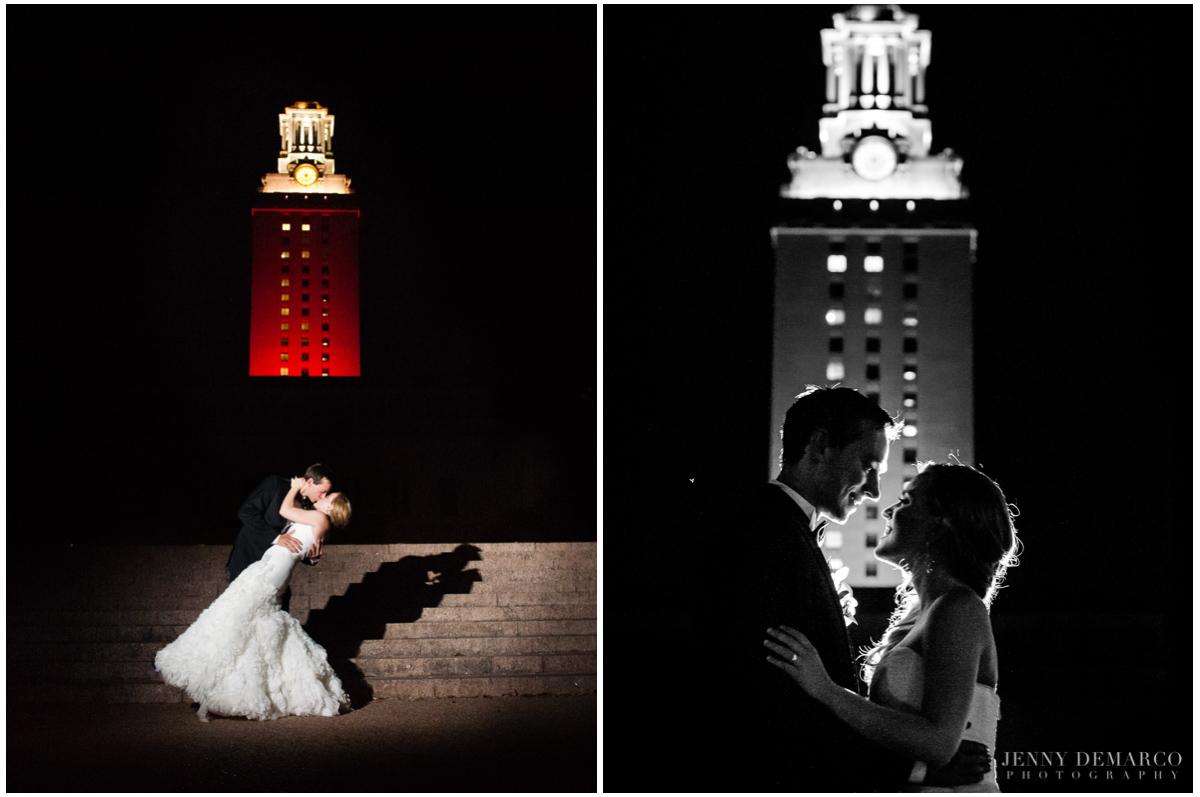 UT Tower bride and groom austin