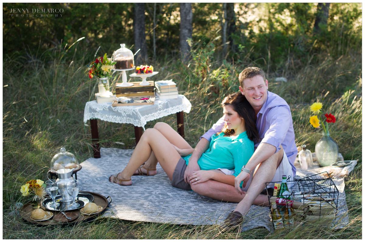 vintage picnic engagement session