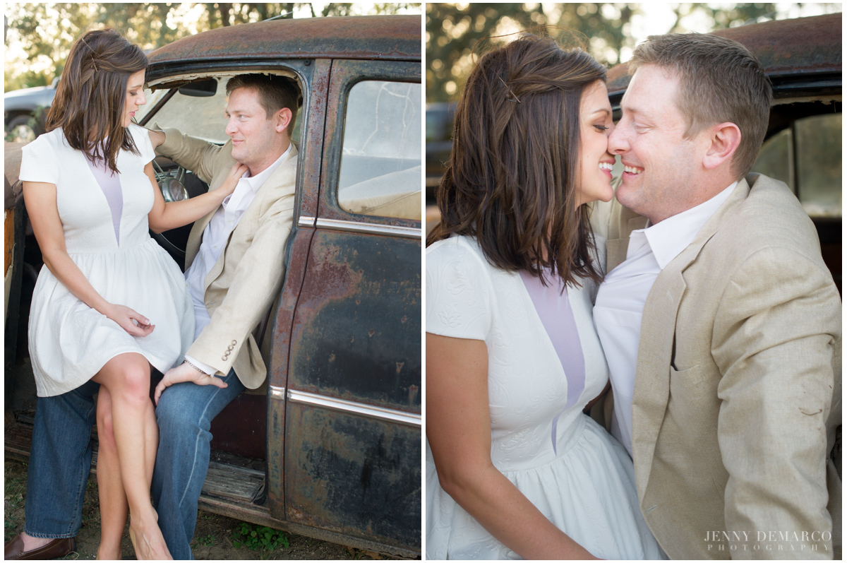 romantic engagement session in vintage car