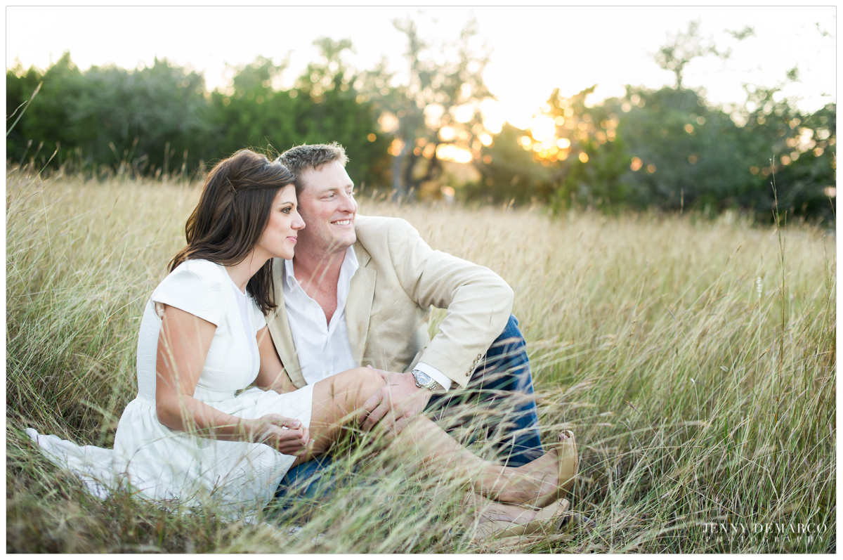 field engagement session with long golden grass