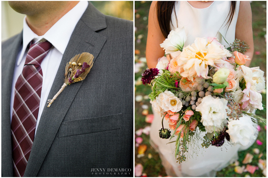 grooms feather boutineer and brides bouquet with mixed florals
