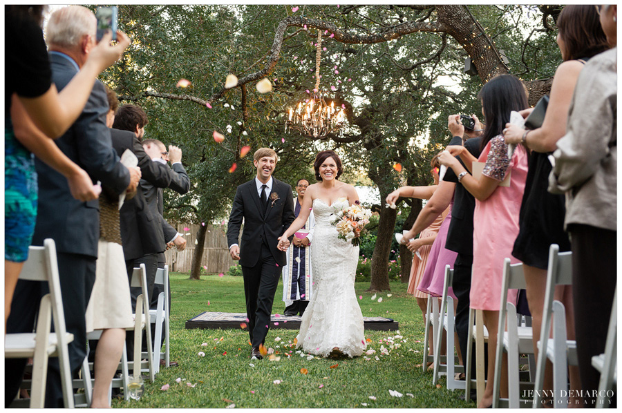 rose petal toss during ceremony recessional