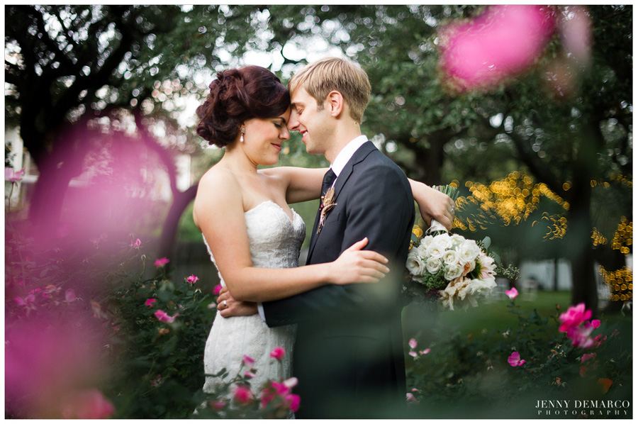 bride and groom in the rose garden at green pastures resturaunt