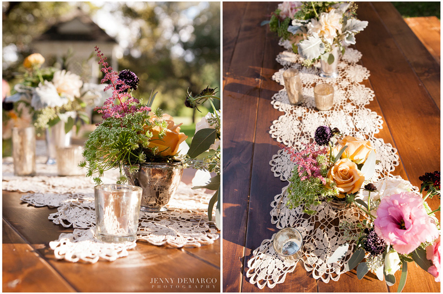 florals on farm tables at Green Pastures