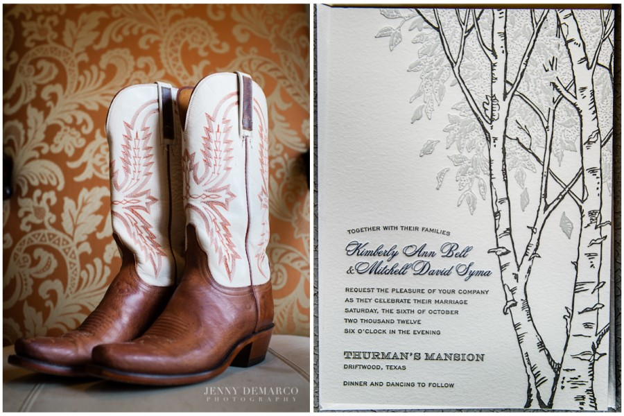 The bride wore cowboy boots for her hillcountry wedding. Her Pink Tulip invitations pictured are letterpressed with navy blue text and an illustration of a tree.