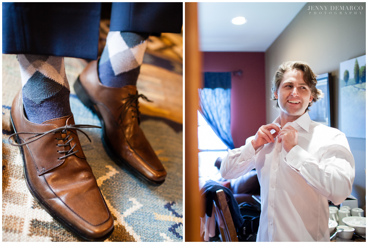 The groom wore a Hugo Boss suit with a Burberry tie along with brown dress shoes and argyle socks.