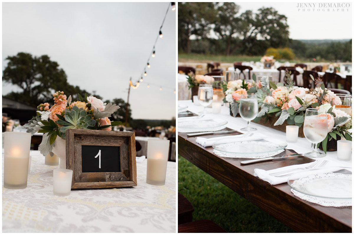 The outdoor wedding with rustic wood tables and festoon lighting.
