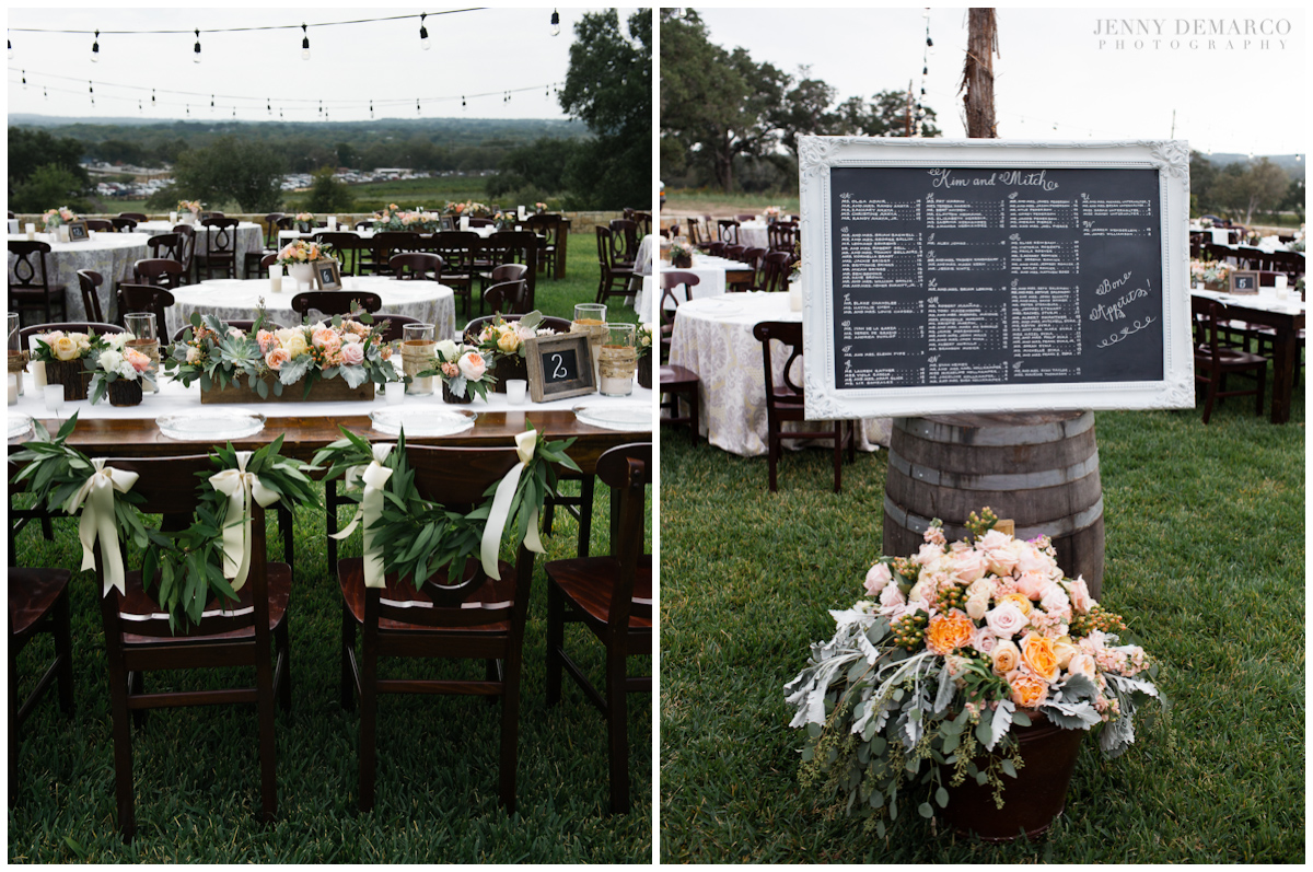 A chalkboard welcomed the guests at the entrance with an array of flowers done by Unexpected Elements.