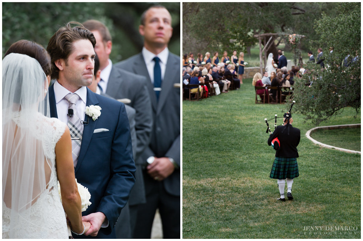 The groom watching as the bagpiper plays Amazing Grace while walking down the isle.