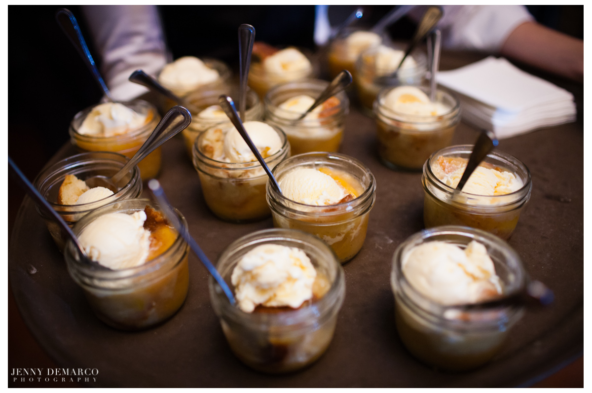 For dessert the guests enjoyed mini peach cobblers.