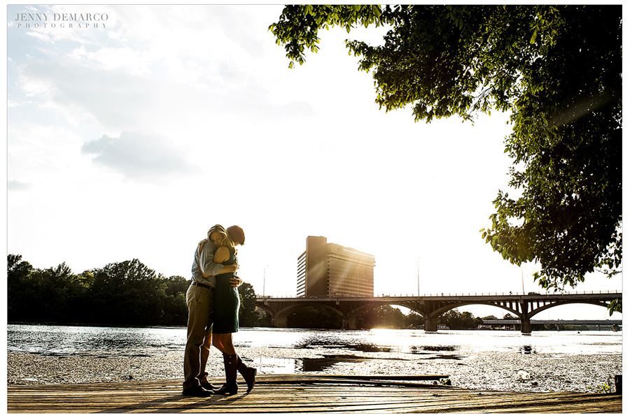 Town lake engagement session for a city chic couple