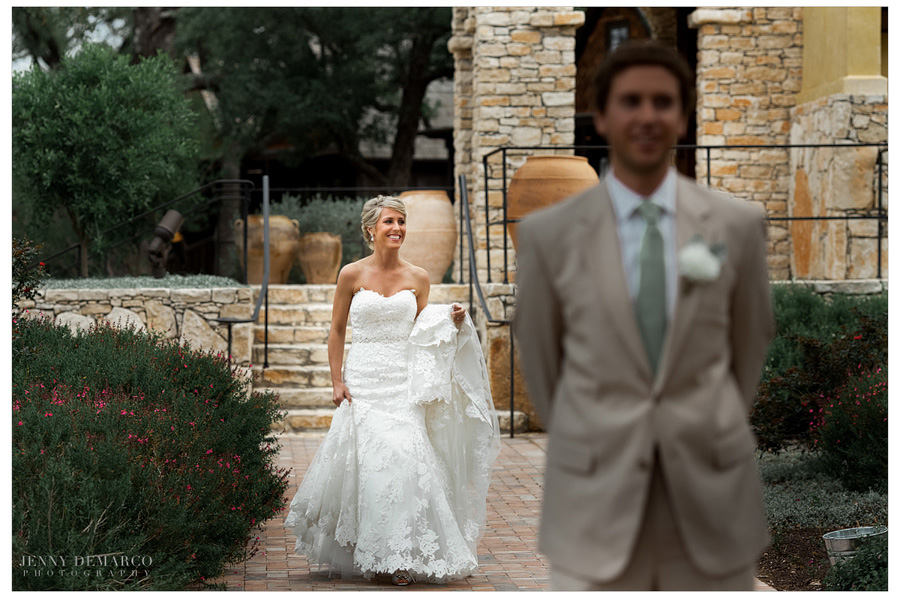 First Look at Dripping Springs wedding outside the Ian's Chappel.