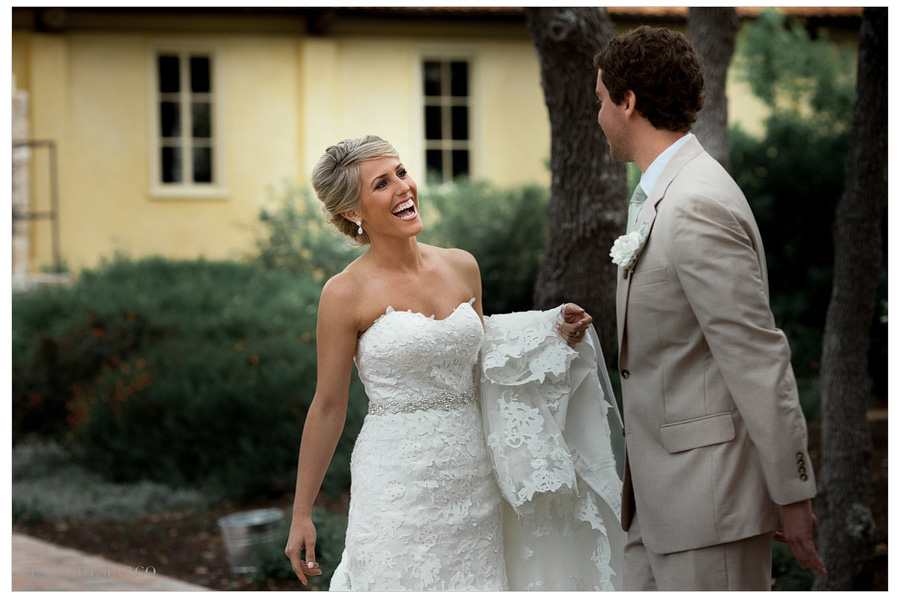 Bride and groom see each other for the first time in their hill country wedding.