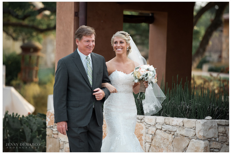 Top Austin wedding photographer photographs the father escorting the bride.