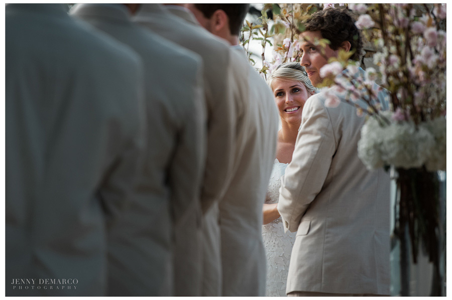 Bride smiles before she says her vows in Central Texas wedding.