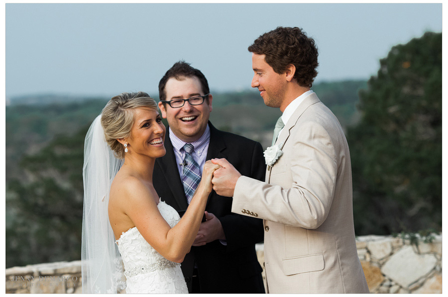 Vows were made on the terrace overlooking the Hill Country.