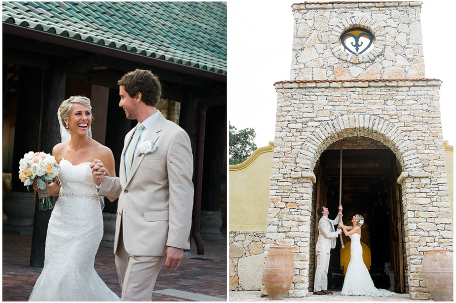 Bride and groom ringing the chapel bell at Camp Lucy.