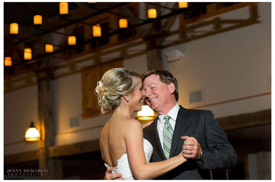 The Father-Daughter Dance at the wedding reception in Dripping Springs wedding.