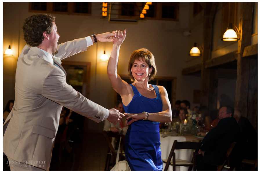 The Mother-Son Dance at beautiful Camp Lucy wedding was filled with laughs.