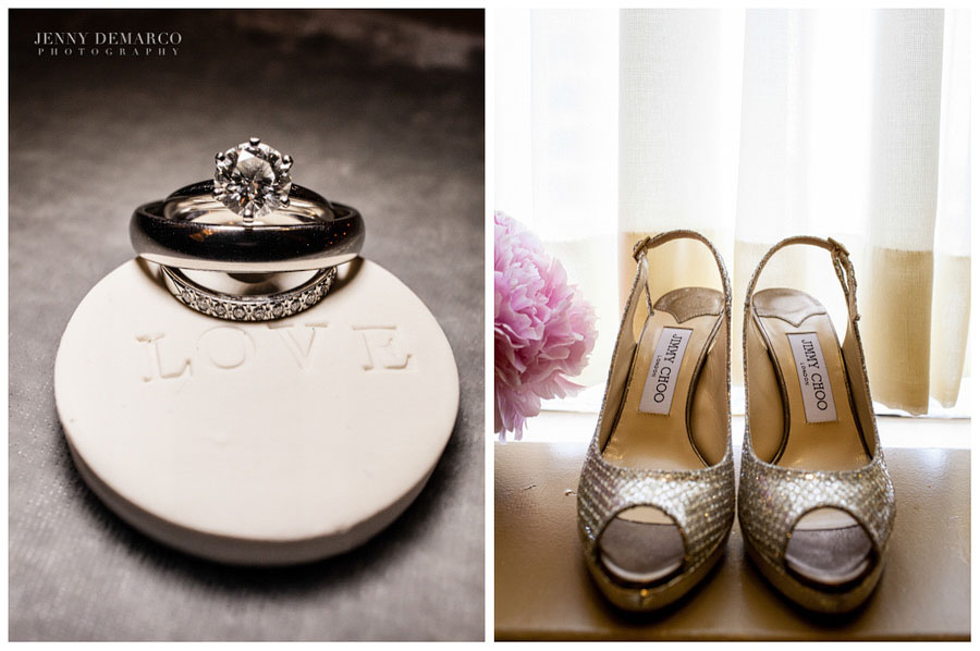 Jimmy Choo sparkly brides shoes. Ringbearer ceramic plate with the workd 'Love' etched.