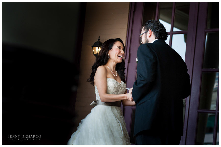 Bride and Groom see each other for the first time before the ceremony