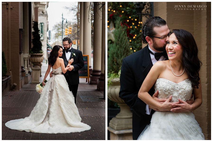 City bride and groom portraits by Austin Wedding Photographers