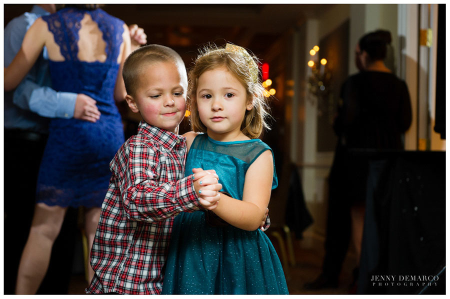 Cute little kids dancing at the reception at the Austin Country Club