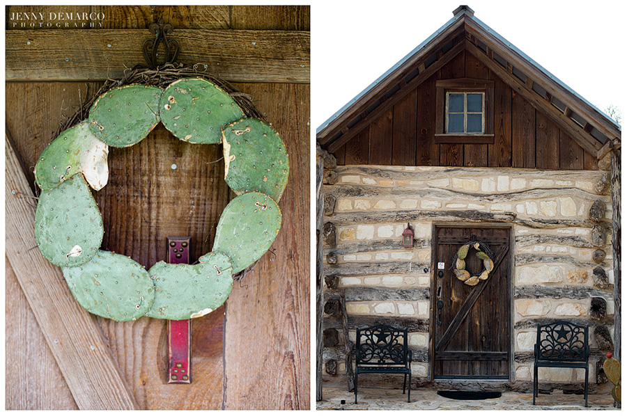 Here a cactus wreath hangs on a rustic wooden door in the chic Country Cottages.
