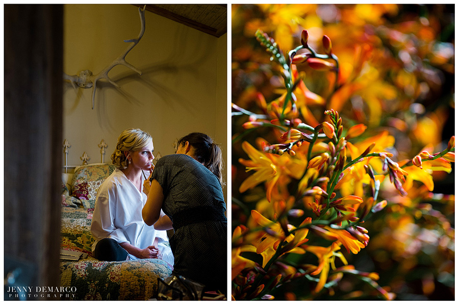 A makeup artist touches up a brides wedding makeup for her ranch wedding.