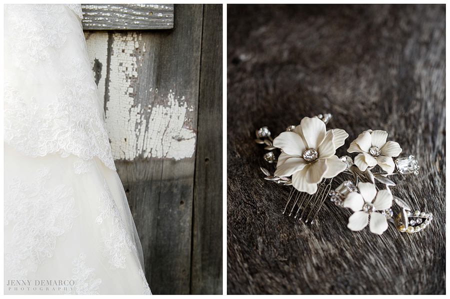 An ivory hair ornament and lacy wedding dress wait for the bride in a Boot Ranch wedding.