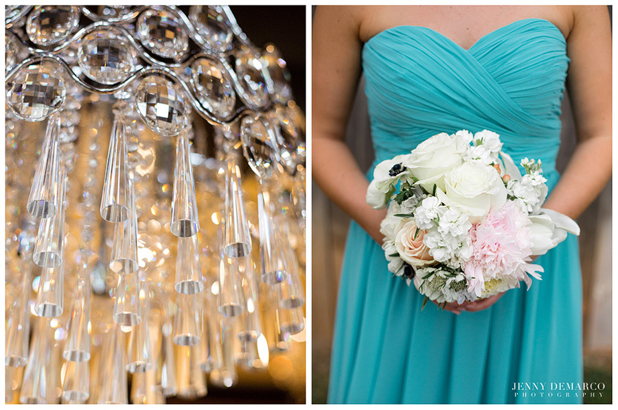 One of Austin's top wedding photographers captured elegant details of a chandelier and wedding bouquet.