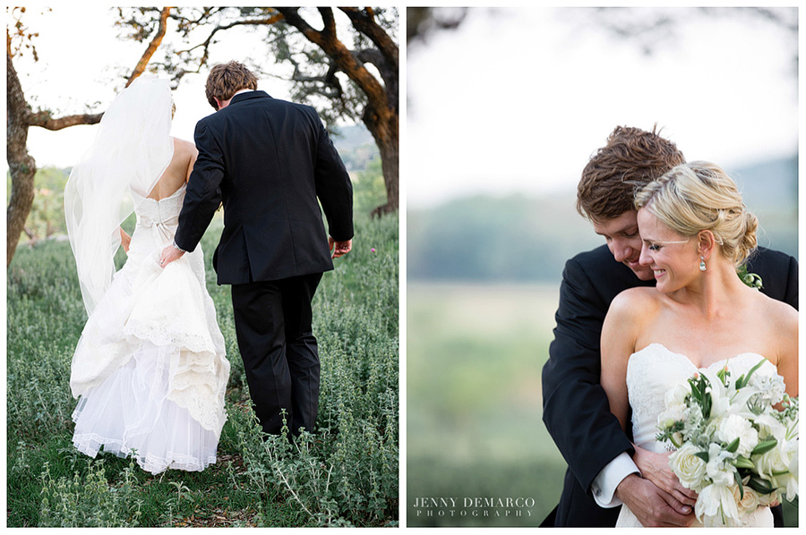 The bride and groom take some special time for themselves at Boot Ranch.