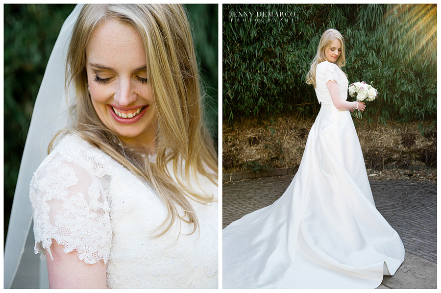Bridal portrait taken in the magnificent Ainwick Castle Gardens designed by Belgian designers, Jacques and Peter Wirtz.