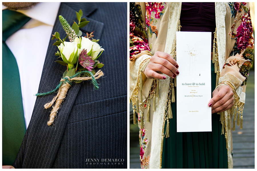 Detail shots of the boutonnière wrapped in twine and the wedding invitation.