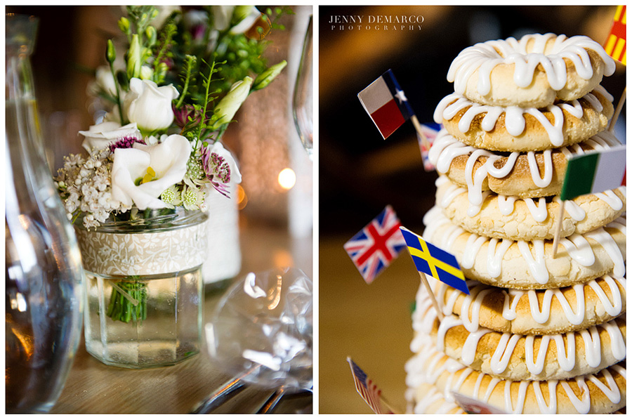 Closeup shots of the cake and delicious food. A special Swedish celebration cake was made called a Kransekake.