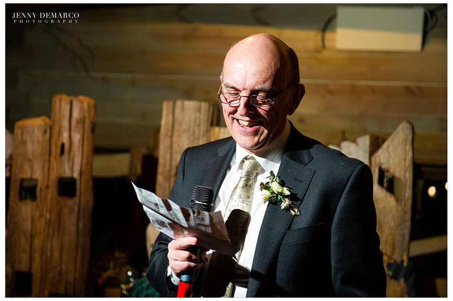 The father of the bride making a toast.
